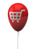 Red balloon with shopping cart