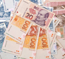 Croatian Kuna banknotes background