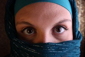 Veiled Woman From The Middle East (golden background)