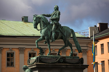 Statue of the Swedish king Gustav II Adolf in Stockholm