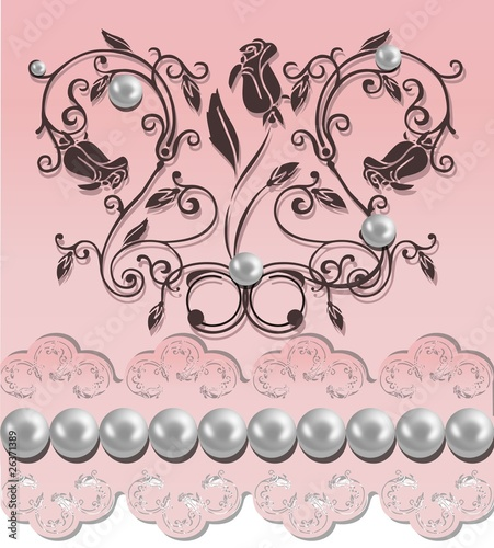 Illustration of a wedding flower background with pearls