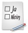 "Papier & Bleistift Illustration ""Ja oder Nein"""