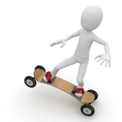 3d man with skateboard