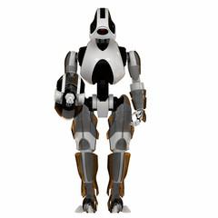 Cool futuristic warrior backward