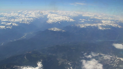 Aerial view of Canadian Rockies from airplane