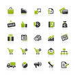 Green Black Website Icons - Shopping & Business