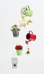 Hanging buckets with beautiful flowers