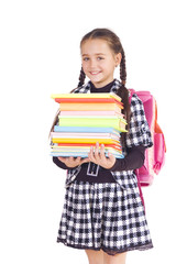 Girl with a briefcase and books