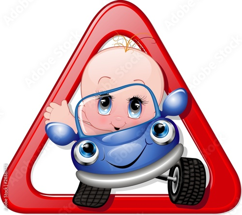 Bimbo in Auto Cartoon-Baby on Car-Vector
