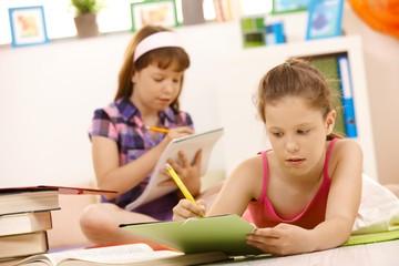 Schoolgirls doing homework