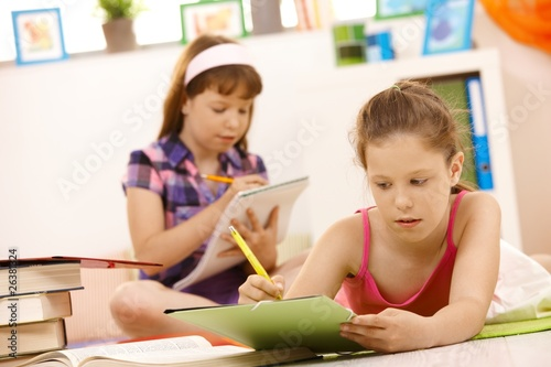 Schoolgirls doing homework