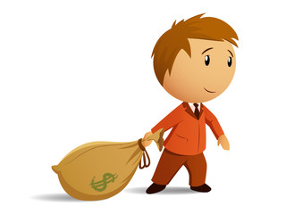 Businessman with money bag
