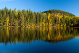 Fototapety Beautiful photography of autumn on lake in Finland