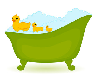 green bath with ducks in isolated