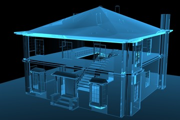 House 3D rendered blue transparent