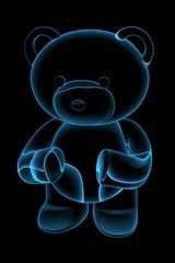 Teddy bear 3D rendered blue transparent