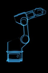 Robotic arm 3D rendered blue transparent