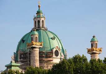 Famous baroque church Karlskirche in Vienna
