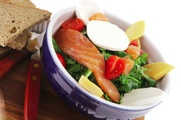 salad with smoked salmon in bowl