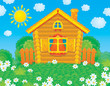 Rustic home standing on a green glade with chamomiles