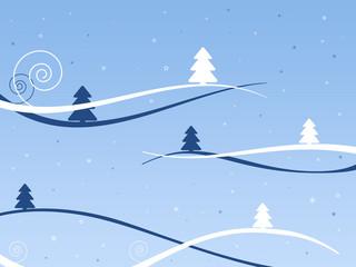 Weihnachtslandschaft blau