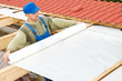 roofing works with protective layer foil