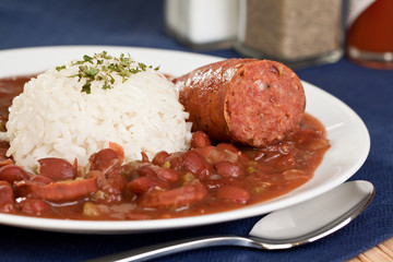 New Orleans cajun style red beans and rice with sausage