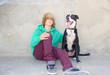 Teen Boy with Dog