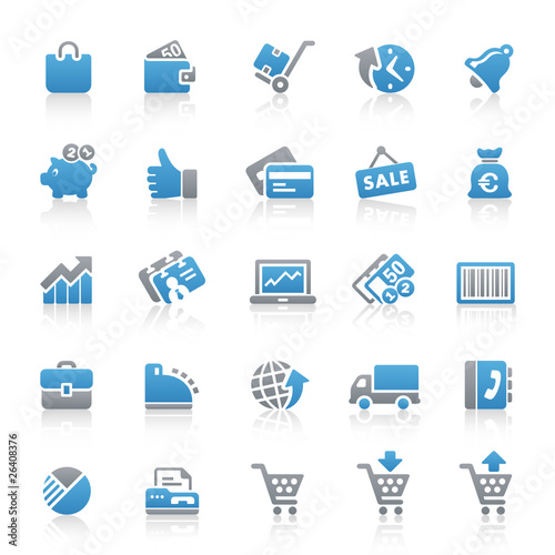 Blue Gray Web Icons - Shopping & Business - Set 12