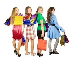 girls holding shopping bags