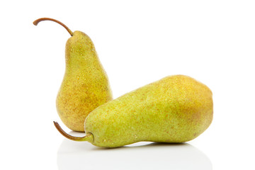 two juicy pears with water drops over white background