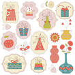 Gift boxes and holiday elements , vector illustration