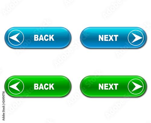 Set botones alargados brillantes texto NEXT BACK