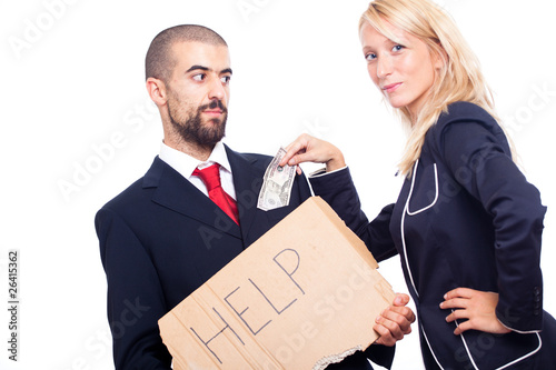 Businessman Ask For Help and Receive Money from Businesswoman
