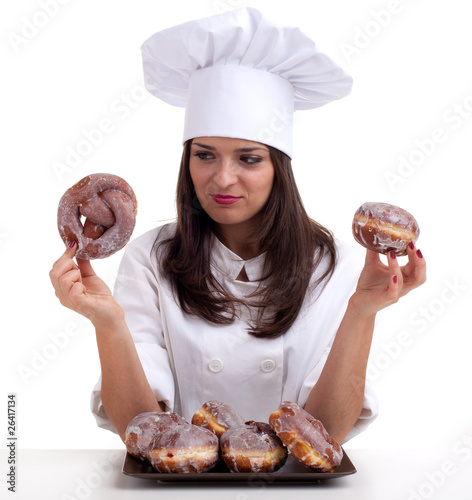 estimating cake female chef with doughnuts.