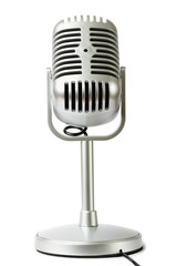 plastic studio microphone metallic color on pedestal