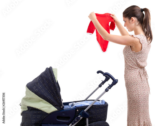 young mother with baby pram (stroller)