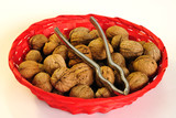 Walnut with pincers in basket poster