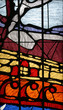 A bright and colorful stained glass church window