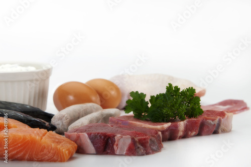 Protein rich foods in close up