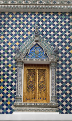 Ancient architecture design of window in thai temple