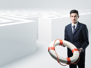 man with buoy and 3d maze