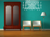 Cupboard with chairs and stand lamp with glass chandelier poster