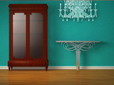 Cupboard with metallic table and glass chandelier poster