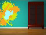 Cupboard with splashes in minimalist interior poster