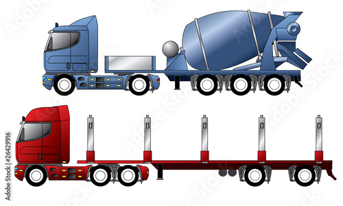 Trucks with mixer and timber trailer