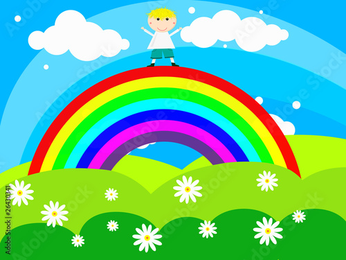 Foto op Aluminium Regenboog Cheerful boy stands on a rainbow