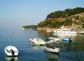Boats Moored in Parga Harbour, Epirus, Greece