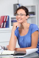 Closeup of beautiful woman with eyeglasses
