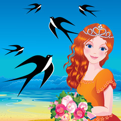 Beautiful princess against the sea background.